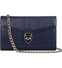 Aspinal Of London Manhattan Leather Clutch Bag Navy