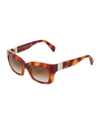 Marchon Eyewear Tortoise Acetate Rectangle Sunglasses Blonde Havana