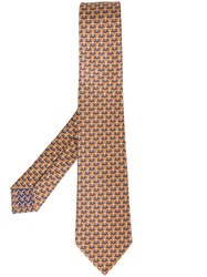 Bulgari Witch Spider Print Neck Tie Yellow And Orange