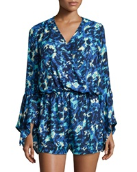 Romeo And Juliet Couture Printed Bell Sleeve Romper Blue Multi