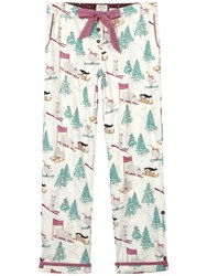 Fat Face Festive Skiing Animals Print Pyjama Bottoms Ivory