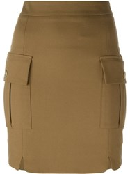Balmain Pierre Pencil Short Skirt Nude And Neutrals