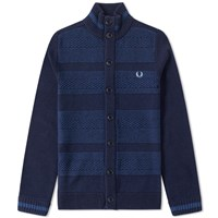 Fred Perry Patchwork Cardigan Blue