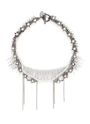Venna Pearl Star Spike Strass Pave Fringe Necklace Metallic