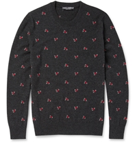 Dolce And Gabbana Embroidered Cashmere Sweater Gray