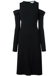 Tibi Cut Off Shoulders Flared Dress Black