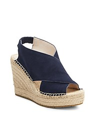 Kenneth Cole Ona Suede Espadrille Wedge Sandals Navy