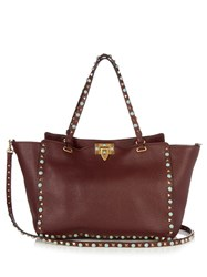 Valentino Rockstud Rolling Leather Tote Burgundy