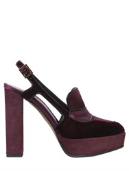 Etro 130Mm Velvet And Suede Slingback Pumps