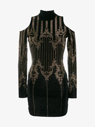 Balmain Open Shoulder Studded Mini Dress Black