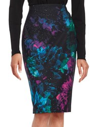 Ellen Tracy High Waist Pencil Skirt Faceted