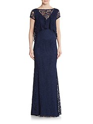 Theia Lace Illusion V Back Gown