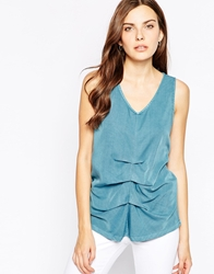 Minimum Sleeveless V Neck Top With Ruched Front 723Ardiaticblue