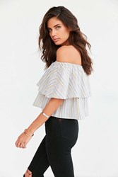 Kimchi And Blue Kimchi Blue Raquel Ruffle Stripe Off The Shoulder Blouse Pink
