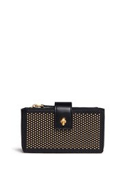 Alexander Mcqueen Stud Skull Leather Double Phone Case Black