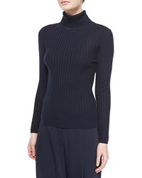Magaschoni Silk Cashmere Ribbed Turtleneck Midnight