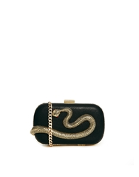 Liquorish Snake Motif Clutch Bag Black