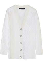 Alexander Wang Cable Knit Wool Blend Cardigan Ivory