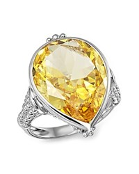 Judith Ripka Bermuda Pear Ring With Canary Crystal Yellow Silver