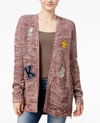 Hippie Rose Juniors' Patched Marled Open Front Cardigan Brandy Wine