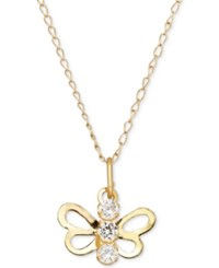 Macy's Cubic Zirconia Open Butterfly Pendant Necklace In 14K Gold Yellow Gold