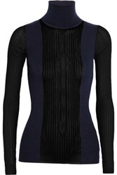 Emilio Pucci Paneled Ribbed Knit Wool Blend Turtleneck Top Midnight Blue