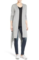 Junior Women's Sun And Shadow Drape Front Knit Cardigan