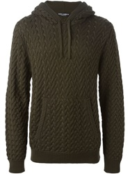Dolce And Gabbana Cable Knit Hoodie Green