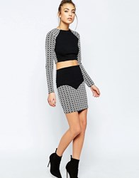 Hedonia Sella Mini Skirt With Geo Print Contrast Black White
