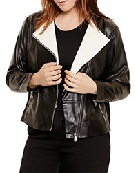Ralph Lauren Plus Two Tone Leather Jacket Black Artist Cream