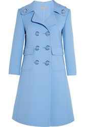 Michael Kors Collection Double Breasted Wool Blend Gabardine Coat Light Blue