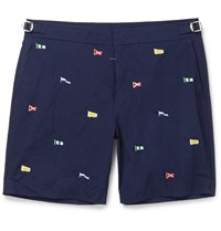 Polo Ralph Lauren Newport Mid Length Embroidered Swim Shorts Blue
