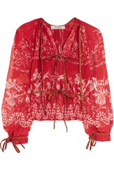 Etro Jacquard Trimmed Pleated Floral Print Chiffon Blouse Red