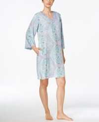 Miss Elaine Long Sleeve Paisley Print Nightgown