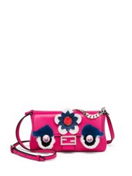 Fendi Embellished Rabbit Fur And Leather Micro Buggie Baguette Fuchsia