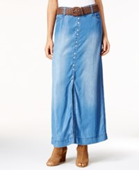 Inc International Concepts Front Slit Denim Maxi Skirt Only At Macy's