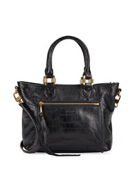 Aimee Kestenberg Morocco Crocodile Embossed Leather Tote Black
