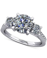 Macy's Diamond Ring Mount 1 2 Ct. T.W. With Channel Set Accents In 14K White Gold .50 Princess