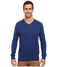 Nautica Solid V Neck Sweater Estate Blue Men's Sweater Navy