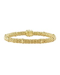 18K Gold Caviar Rope Bracelet 6Mm Lagos Green