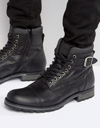 Jack And Jones Albany Leather Boots Black