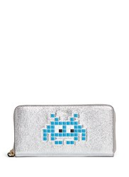 Anya Hindmarch 'Space Invaders' Embossed Metallic Leather Continental Wallet Metallic Multi Colour