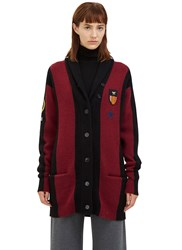 Stella Mccartney Oversized Bi Colour Knit Cardigan Black