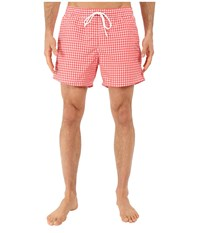 Lacoste Taffeta Gingham Swim Short 5 Sandalwood White Men's Swimwear Pink