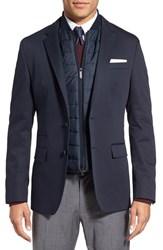 Boss Men's 'Hadwart' Trim Fit Cotton Blend Blazer Dark Blue