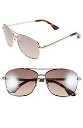 Women's Isaac Mizrahi New York 58Mm Aviator Sunglasses Gold Brown