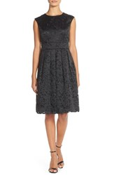 Women's Chetta B Embroidered Organza Fit And Flare Dress