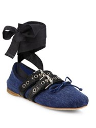 Miu Miu Strapped Denim Lace Up Ballet Flats Blue Black