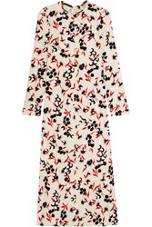 Marni Floral Print Crepe Maxi Dress Cream