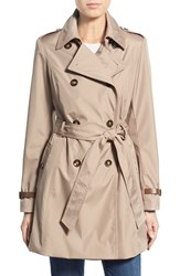 Women's Via Spiga Faux Leather Trim Trench Coat Bone